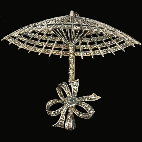 German Sterling and Marcasites Parasol or Umbrella with Bow Pin