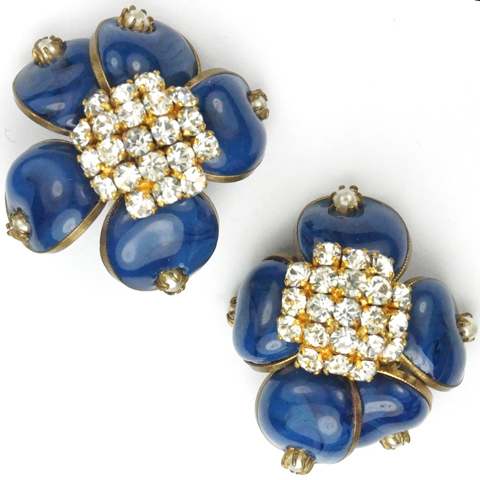 Gripoix signed France Pave Poured Glass and Pearls Blue Flower Button Clip Earrings
