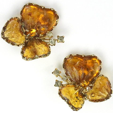 Jewels by Julio Citrine and Poured Glass Pansy Clip Earrings