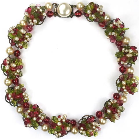 Rousselet Made in France Red and Green Poured Glass and Pearls Flower Clusters Choker Necklace