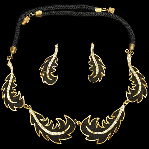 Henry a la Pensee Made In France Gold Pave and Black Velvet Double Leaf Swirls Necklace and Clip Earrings Set
