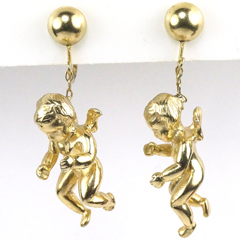 Castlecliff Golden Winged Angels Putti Pendant Clip Earrings