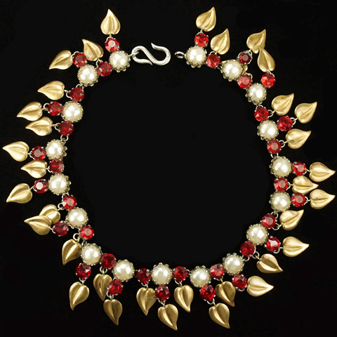 Made in France Rubies, Baroque Pearls and Pendant Gold Leaves Choker Necklace
