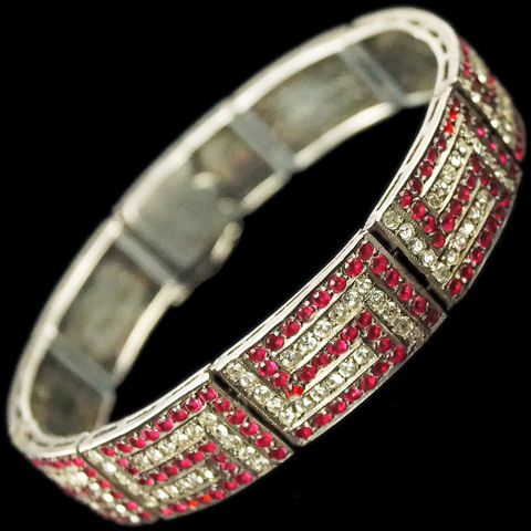 German Sterling Pave and Ruby Maze Pattern Bracelet