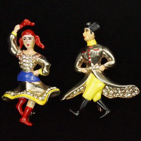 Hess-Appel Sterling WW2 Patriotic Pair of Lady and Gentleman Cossack Russian Dancer Pins