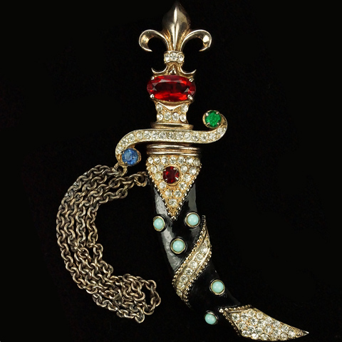 Urie Mandle 'Murray Slater' Sterling Gold Enamel and Cabochons Dagger in a Sheath Pin or Chatelaine Pins