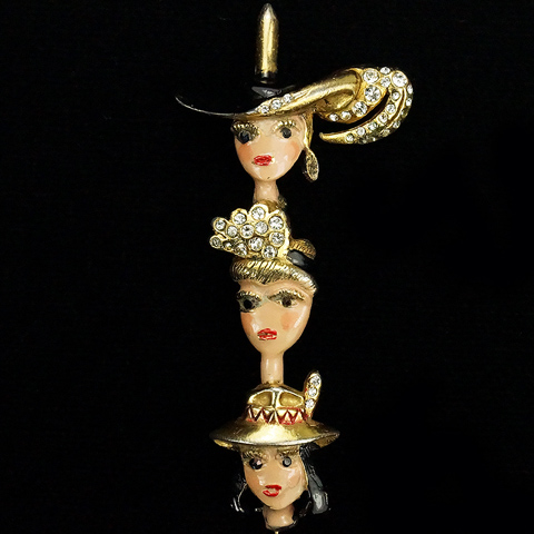 Mosell Gold Pave and Enamel Three Ladies Wearing Hats Pin