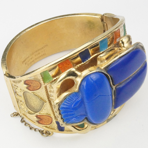 Thomas Fattorini Ltd Giant Gold Lapis and Enamel Egyptian Revival Scarab Bangle Bracelet