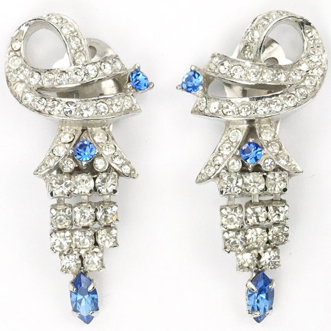 Ledo Pave and Sapphire Articulated Pendant Lanterns Clip Earrings