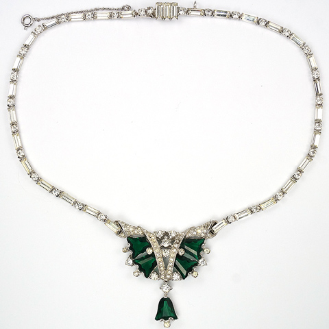 Mitchel Maer Pave Baguettes and Kite Shaped Emeralds Pendant Necklace