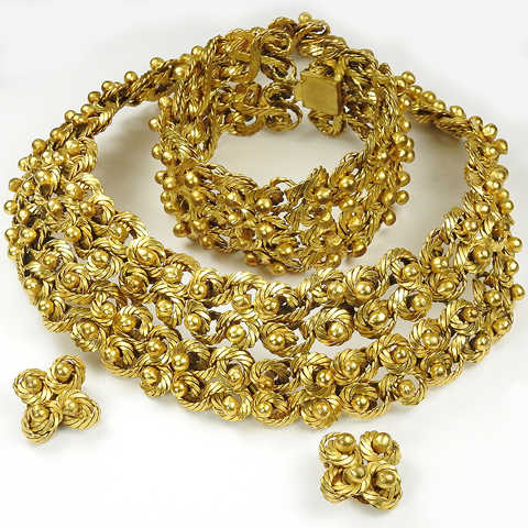 French Intertwined Coils upon Coils Golden Basketweave Necklace Bracelet and Clip Earrings Set