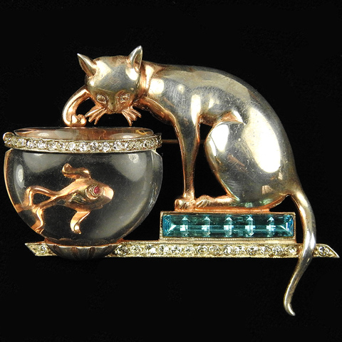 'Anthony Aquilino' Anthony Sterling Cat on Invisibly Set Aquamarines Plinth Fishing in Jelly Belly Fish Bowl Pin