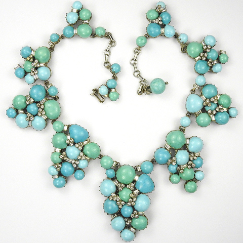 Roger Jean Pierre  Turquoise and Jade Poured Glass with Spangles Collar Necklace