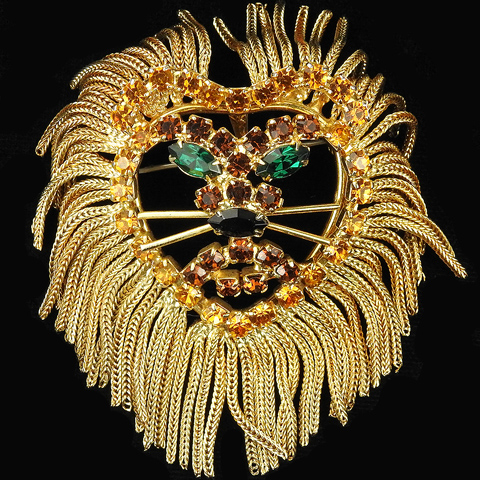 Dominique (unsigned) Citrine Emerald and Onyx Openwork Lions Face with Gold Tassels Pin or Pendant
