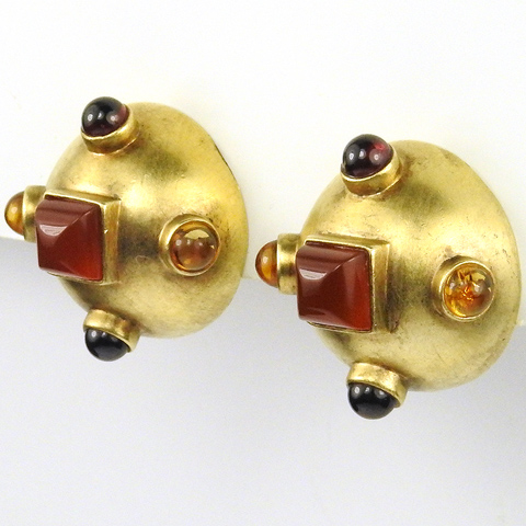 M Salieri Garnet Citrine and Gold Plated Sterling Dome Button Clip Earrings