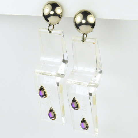 Modernist Italian Lucite Drops with Amethyst Teardrops Pendant Clip Earrings