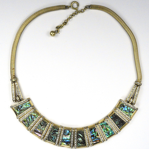 Esha Randel Gold Pave and Iridescent Opal Panels Bib Necklace
