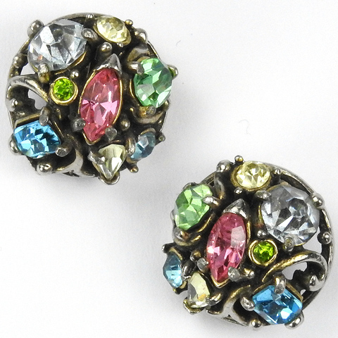 Hollycraft Gold and Multicolour Stones Button Clip Earrings