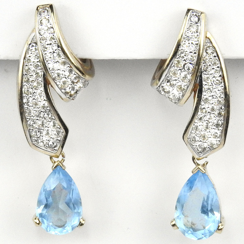Panetta Gold and Pave Swirls and Pendant Blue Topaz Pierced Earrings