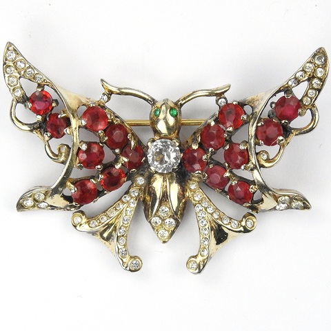 Castlecliff Sterling Gold Pave Emeralds and Rubies Butterfly Pin