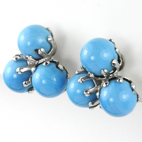 Vogue Triple Turquoise Globes Button Clip Earrings