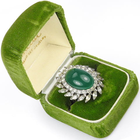 Panetta Diamante Garland and Emerald Cabochon Finger Ring (with Original Box)