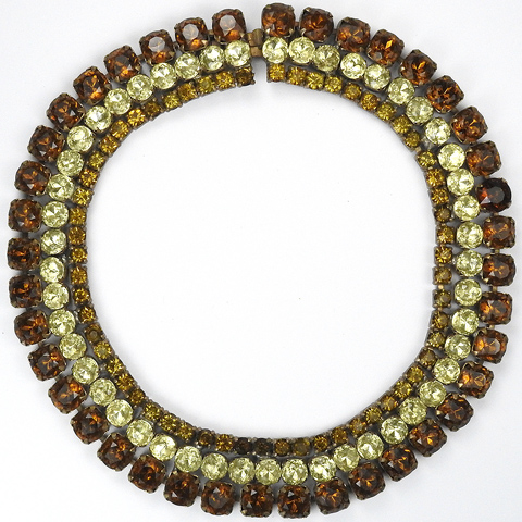 Ann Vien Citrine and Topaz Banded Choker Necklace