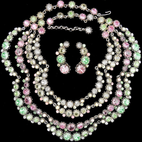 Cis (Countess Cissy Zoltowska) Multicolour Pastel Stones Multi Stranded Collar Necklace and Screwback Earrings Set