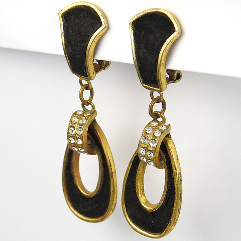 Henry a la Pensee Made In France Gold Pave and Black Velvet Loops Pendant Clip earrings