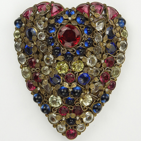 Hobe Gold Filigree Flowers and Multicolour Stones Heart Shaped Shield Dress Clip