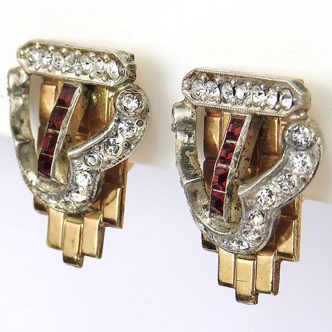 Dorsons Pave and Gold Filled Tessellated Invisibly Set Ruby Buckle Screwback Earrings