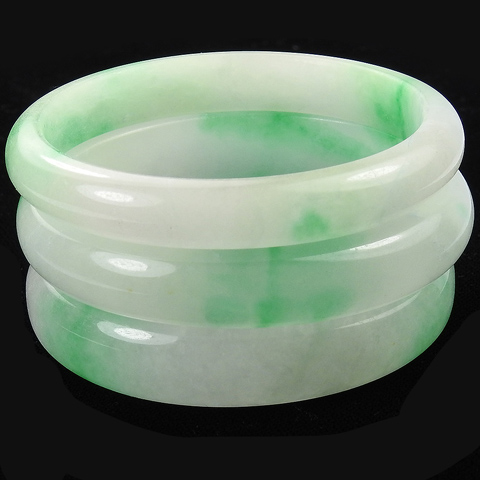 Set of Three Graduated Width Green and White Mottled Natural Jade Bangle Bracelets