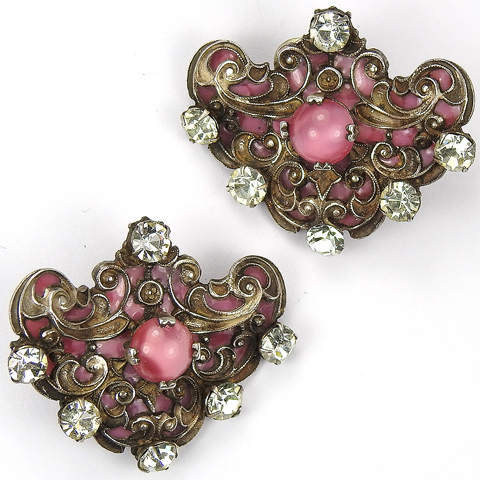 French Gold Filigree Inlaid Poured Glass Diamante Spangles and Pink Moonstone Clip Earrings