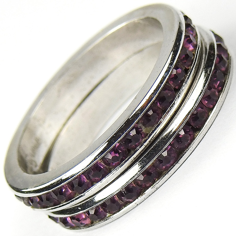 Pair of J.D. Schlang Sterling and Invisibly Set Amethysts Finger Rings