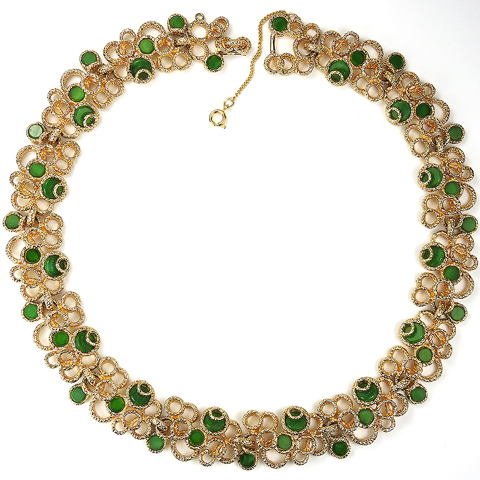 Panetta Gold and Jade Linked Circles Choker Necklace