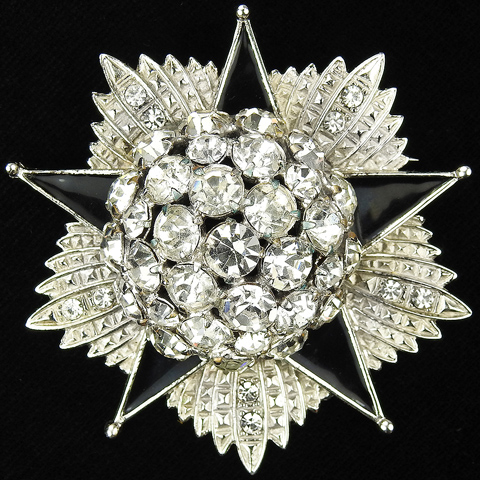 Fred Block Pave Diamante and Black Enamel Five Pointed Star Atomic Starburst Pin