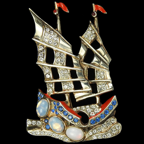 Harris Sterling Gold Opals and Enamel WW2 Allies Red White and Blue Patriotic Chinese Junk Sailing Ship in the Waves Pin