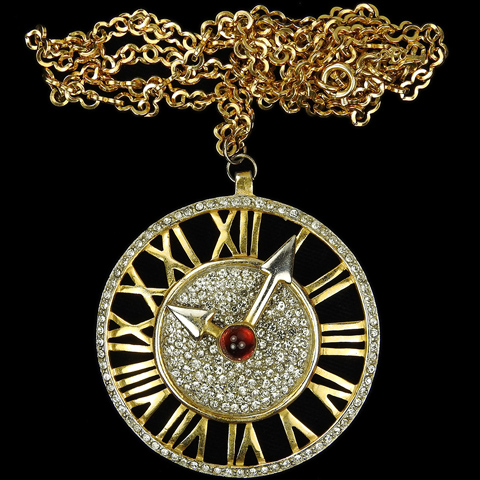 Castlecliff Gold Pave and Ruby Cabochon Clock Face with Moveable Hands Pendant Necklace