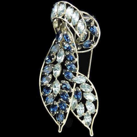 Roger Jean Pierre Depose Made in France Sapphire and Aquamarine Leaf Swirl Pin Clip