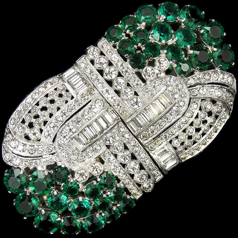 'Fielding and Whitaker' Pave Baguettes and Emerald Clusters Pair of Deco Dress Clips or Clipmate Pin