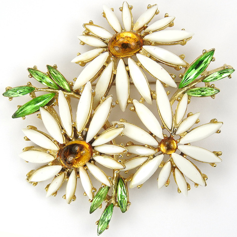 Art (after Schreiner) Citrine Cabochon Emeralds and Ivory Petals Triple Daisy Flower Pin