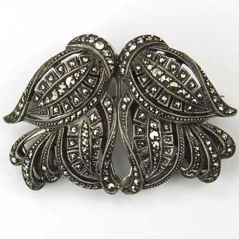 French (?) Deco Silver and Marcasite Leaf Swirls Pair of Dress Clips or Duette Pin