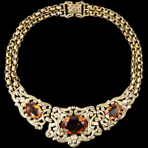 Rice Weiner 'Louis C Mark' Gold Chains, Filigree Scrolls and Topaz Collar Necklace