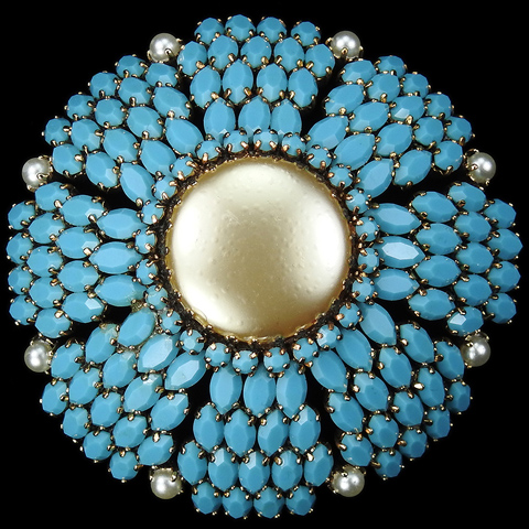 French (?) Gold Mabe Pearl Marquis Cut Turquoise and Pearls Dome Pin