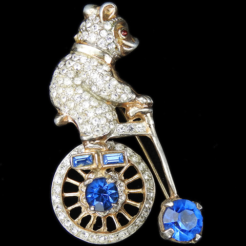 Anita Eshay Fair Sex Jewels 'Frank Gargano' Sterling Pave and Sapphires Bear on a Circus Bicycle Pin