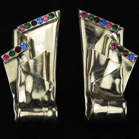 Premier Etage Paris Multicolour Stones Bunched and Folded Silver Scarves Clip Earrings