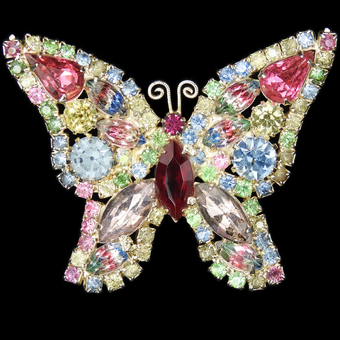 Weiss Gold and Multicolour Pastel Stones Butterfly Pin
