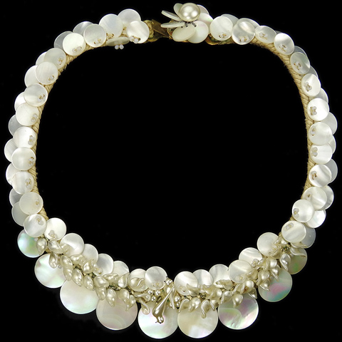 Made in France White Mother of Pearl Discs Poured Glass Birds Seed Pearls and Woven Fabric Choker Necklace