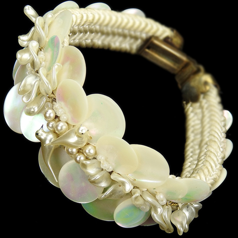 Made in France White Mother of Pearl Discs Poured Glass Birds Seed Pearls and Woven Fabric Bracelet