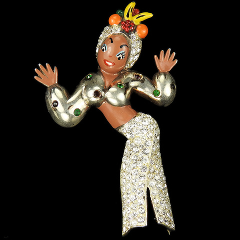'Grayce Norato' Sterling Pave and Enamel Carmen Miranda Cuban Dancer with Fruit Headdress Pin
